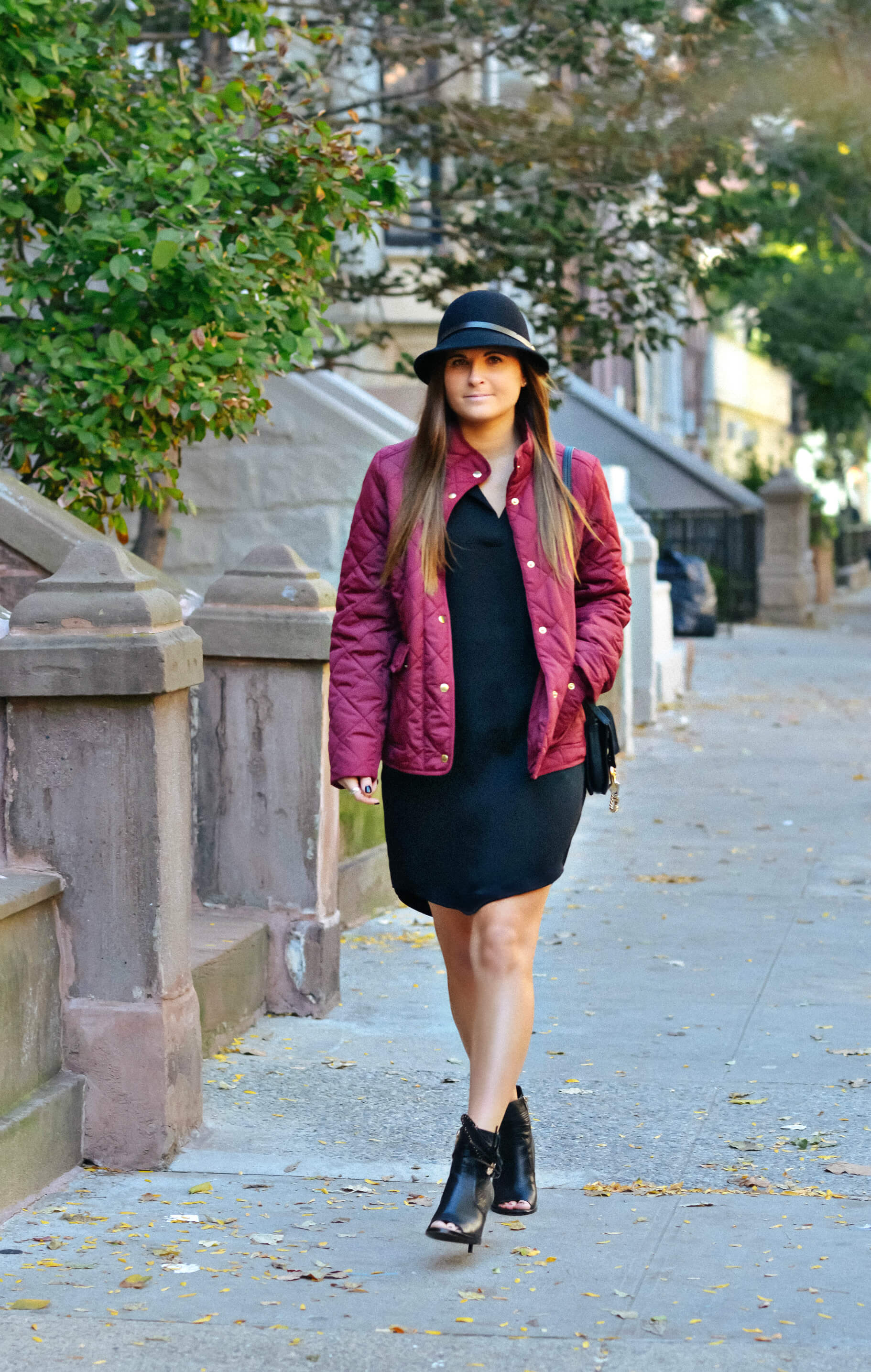 Fall Outfit Inspiration, Burgundy Jacket, Brim Hat, Tilden of To Be Bright