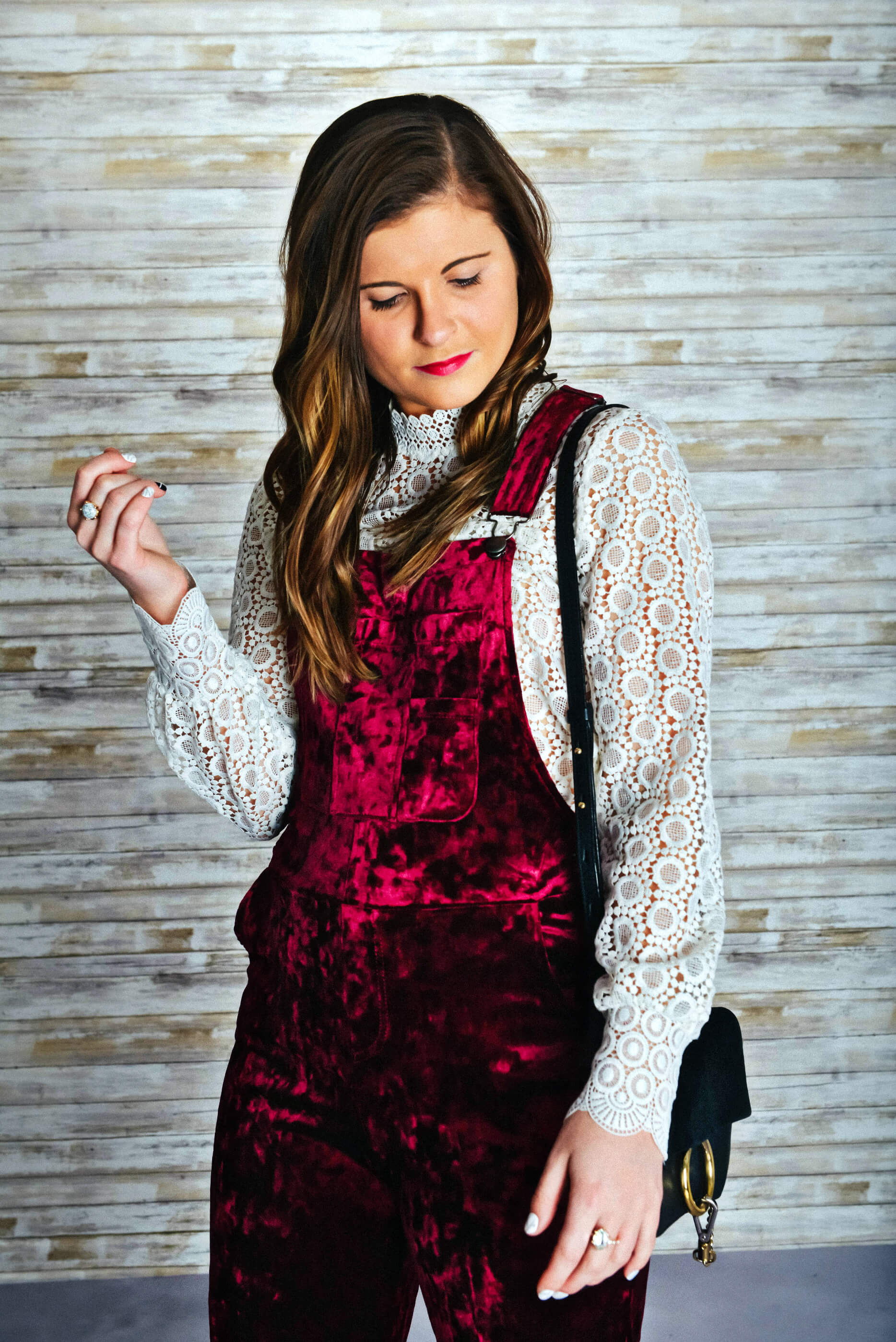 Holiday Outfit Ideas, Velvet Overalls, Tilden of To Be Bright