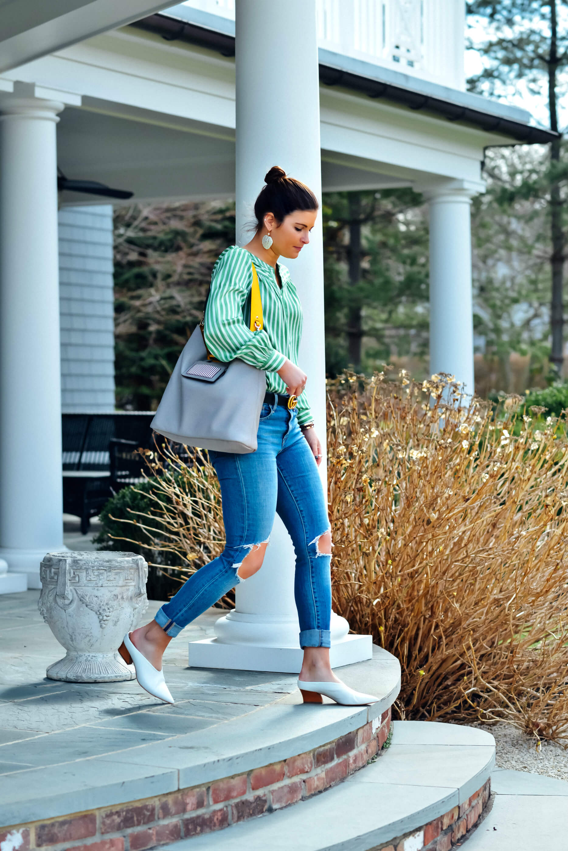 Green Striped Blouse, Henri Bendel Influencer Hobo Bag, Levi's Denim, White Mules, Spring Outfit, Tilden of To Be Bright