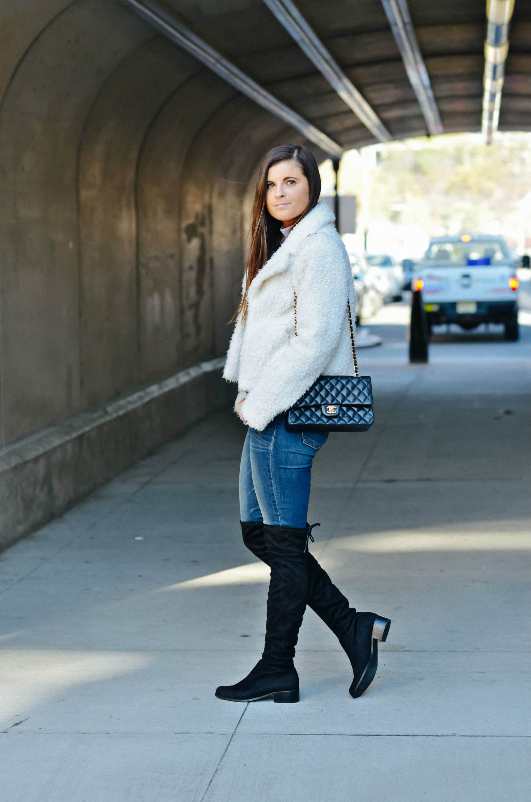 Winter Outfit Inspiration, White Faux Fur Jacket, Over The Knee Boots, Tilden of To Be Bright