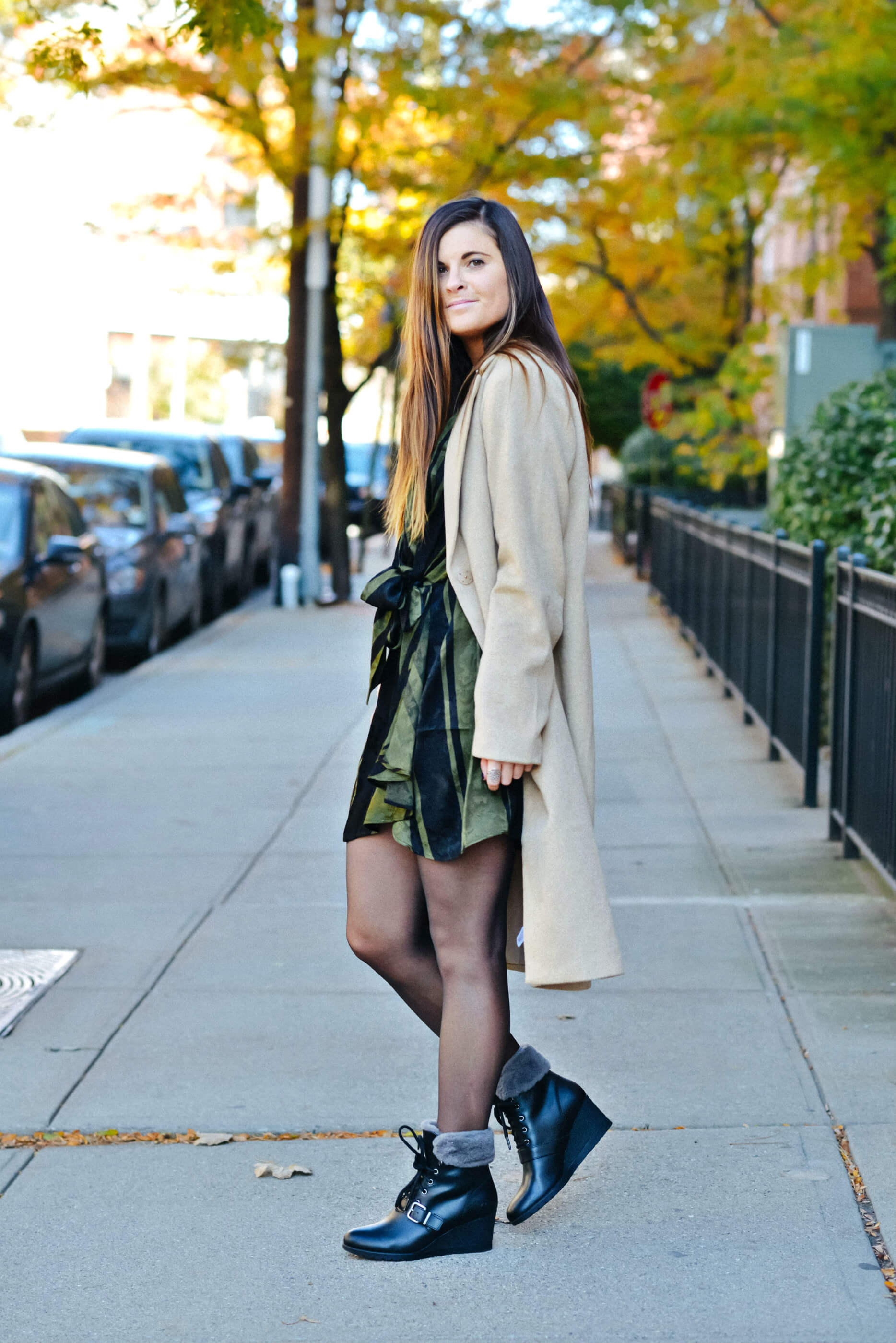 Fall Winter Outfit, Wrap Dress, Camel Trench Coat, Winter Boots, Tilden of To Be Bright