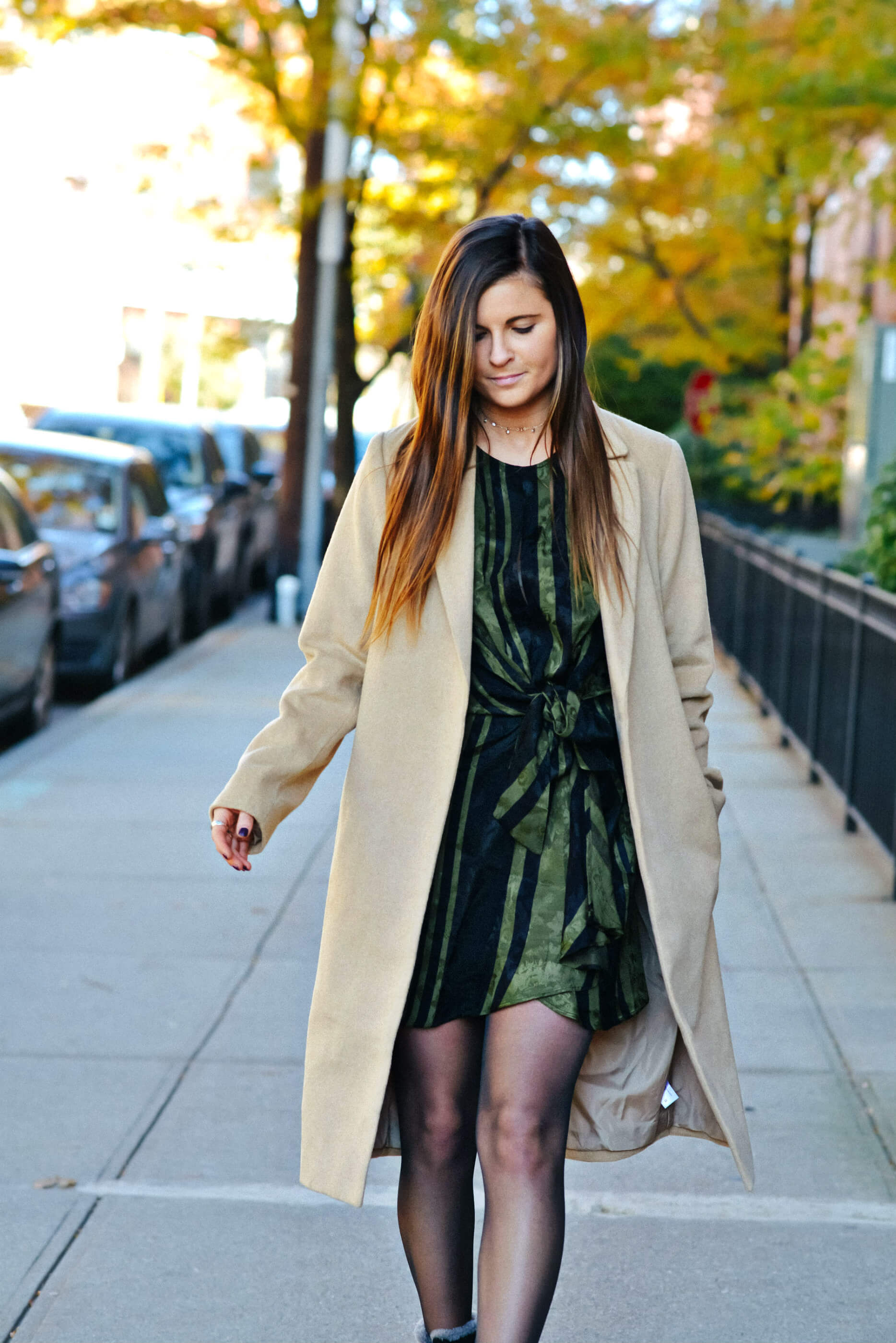 Fall Winter Outfit, Wrap Dress, Camel Trench Coat, Tilden of To Be Bright
