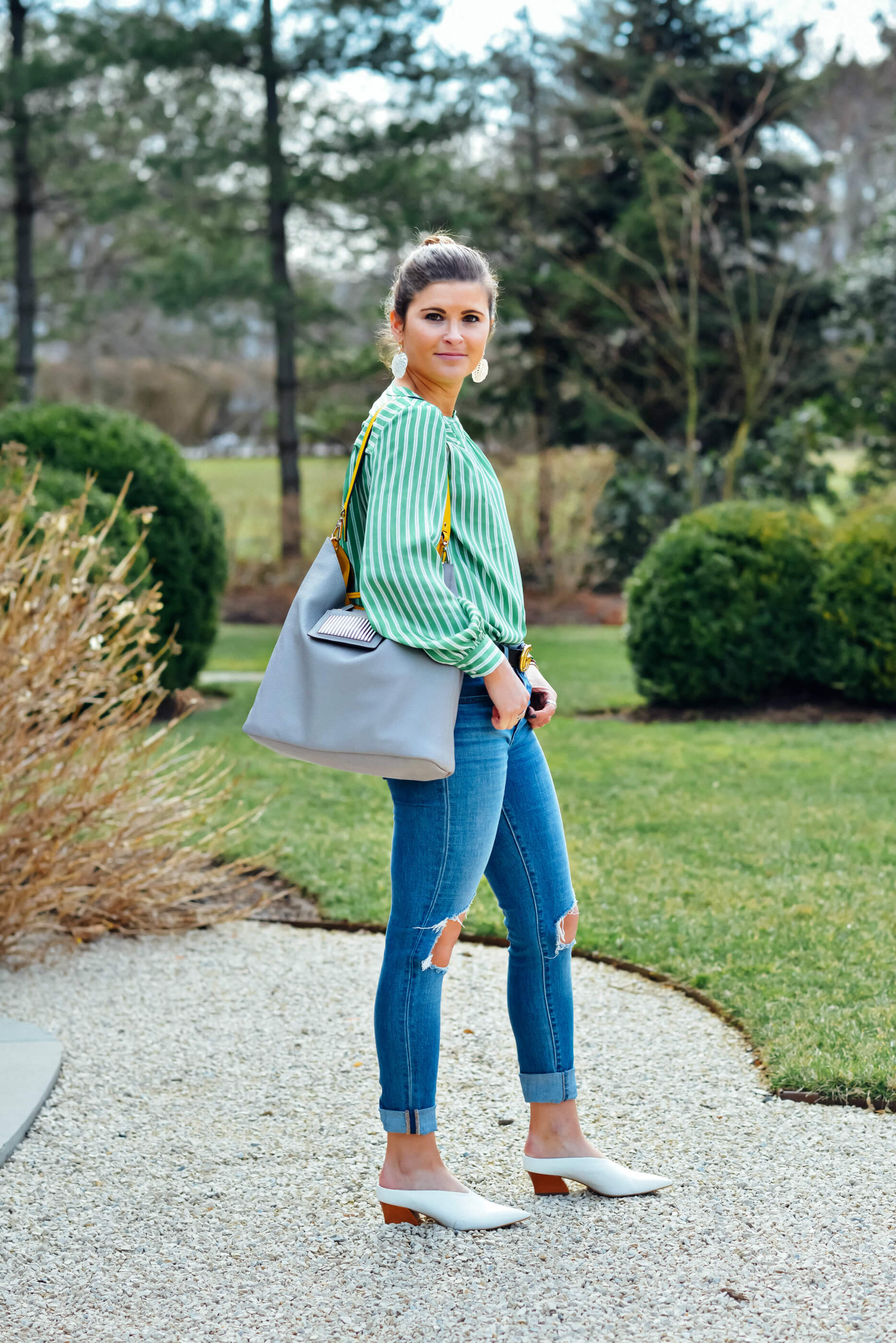 Green Striped Blouse, Levi's Denim, White Mules, Spring Outfit, Tilden of To Be Bright