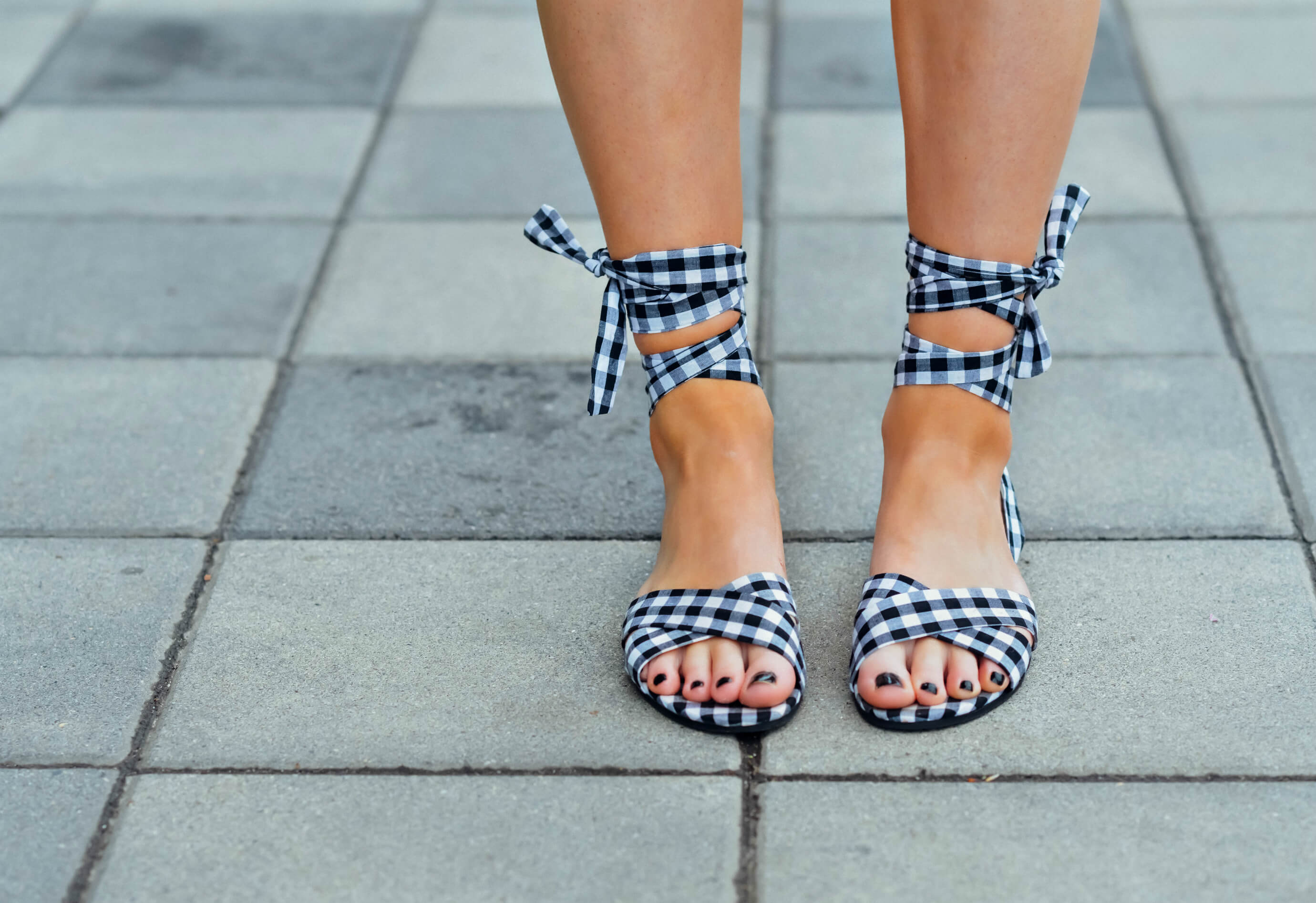 New Look ASOS Gingham Lace Up Sandals, Tilden of To Be Bright