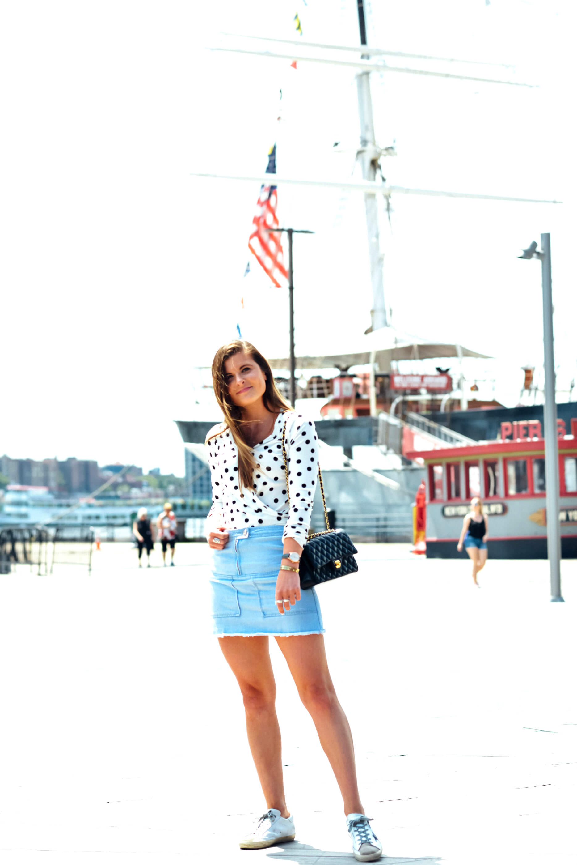 Polka Dot Bodysuit, Denim Mini Skirt, Summer Outfit, Tilden of To Be Bright
