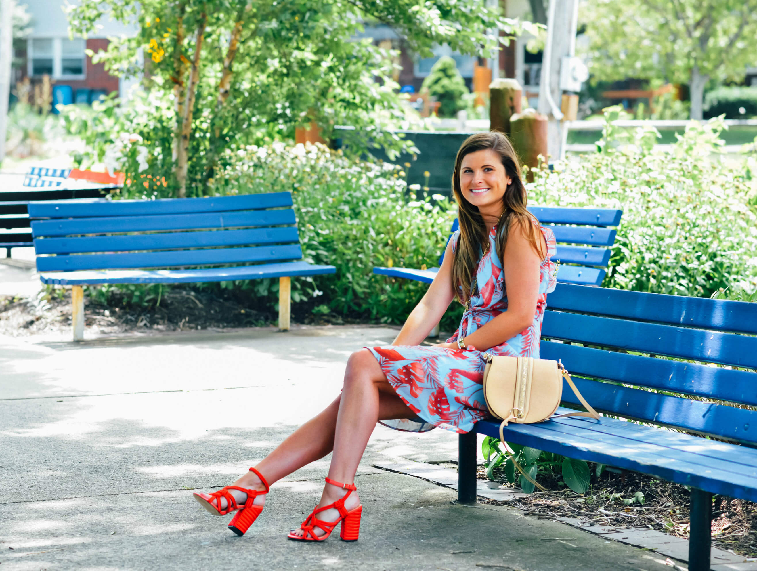 Blue & Red Tropical Print Dress, Red Sandals, Summer Outfit, Tilden of To Be Bright