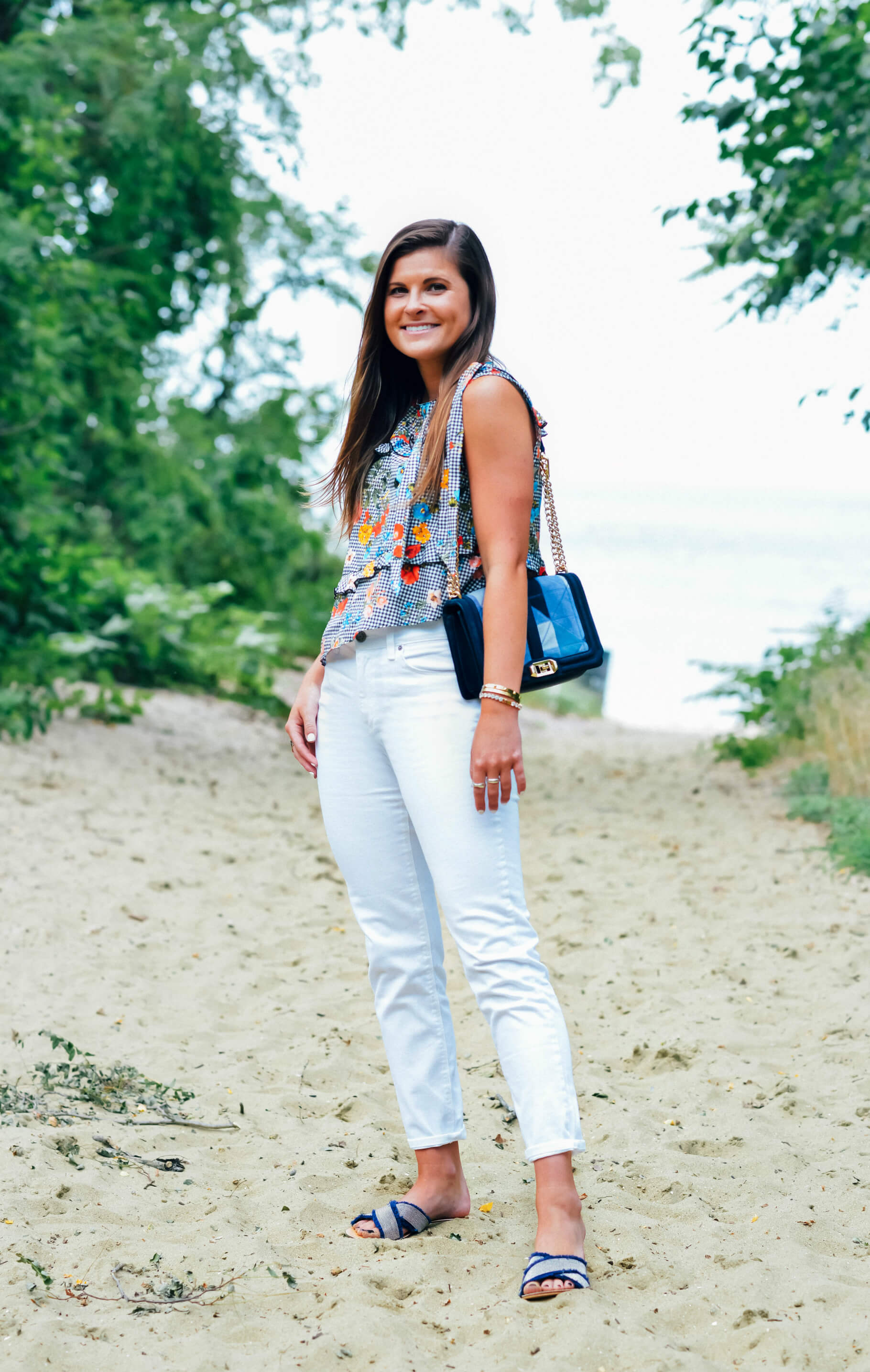 Gingham Floral Top, Denim Bag, Summer Outfit, White Jeans Outfit, Tilden of To Be Bright