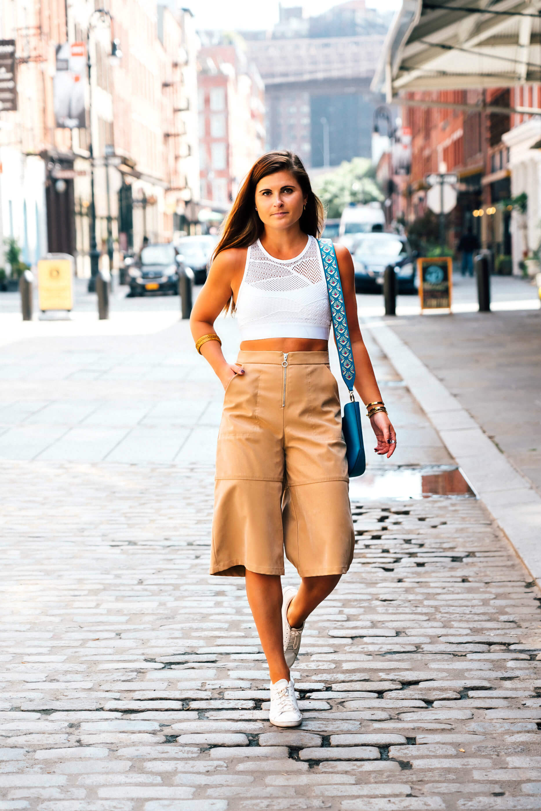 Next Step to Athleisure Outfit, Alala White Lace Cross Back Bra, ASOS tan culottes, Henri Bendel West 57th Mini Hobo Bag, Tilden of To Be Bright