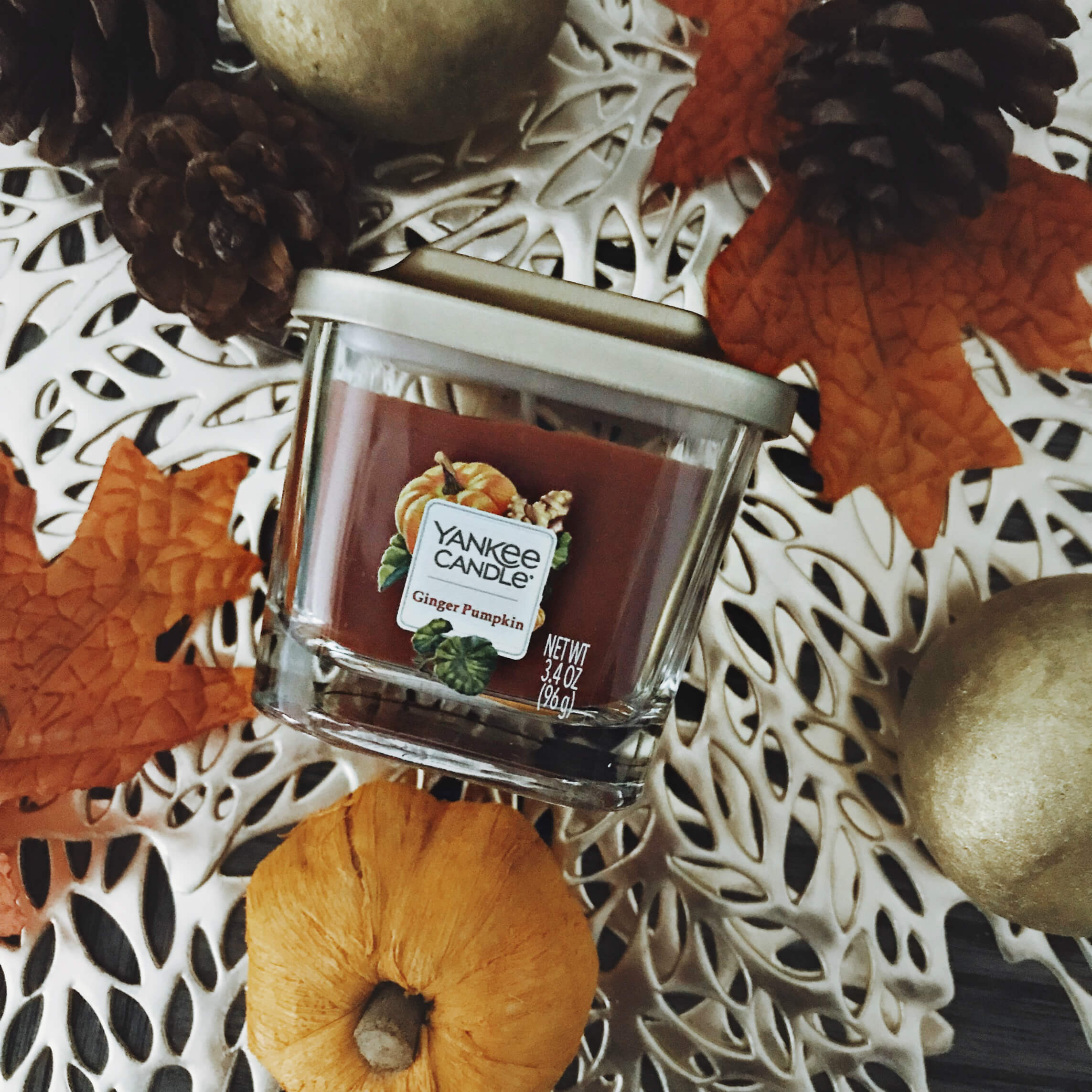 Yankee Candle Elevation Collection with Platform Lid, Ginger Pumpkin, Fall Seasonal Scented Candles, Fall Decor, Fall Flat Lay, Tilden of To Be Bright
