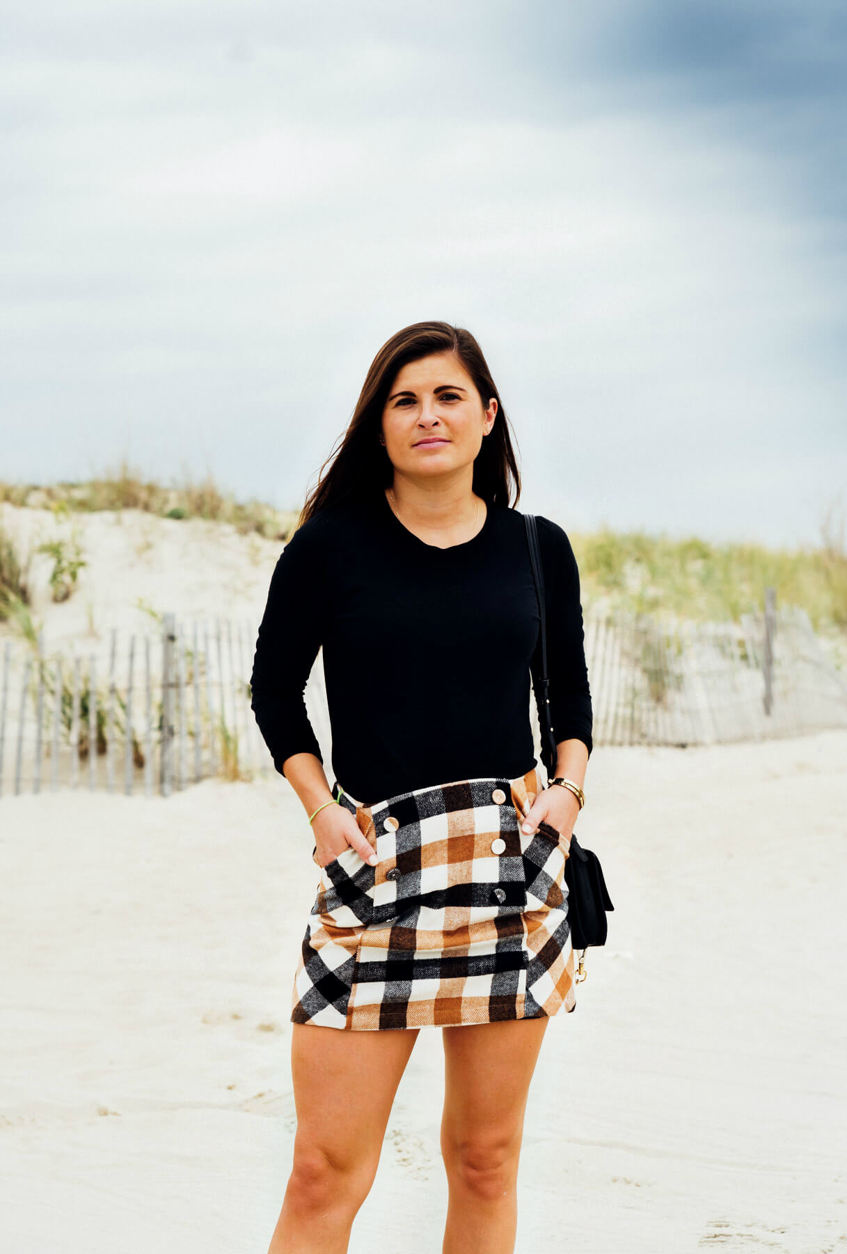 Forever 21 Button Plaid Mini Skirt, J Brand Black Tee, Fall Style, Fall Outfit, Tilden of To Be Bright