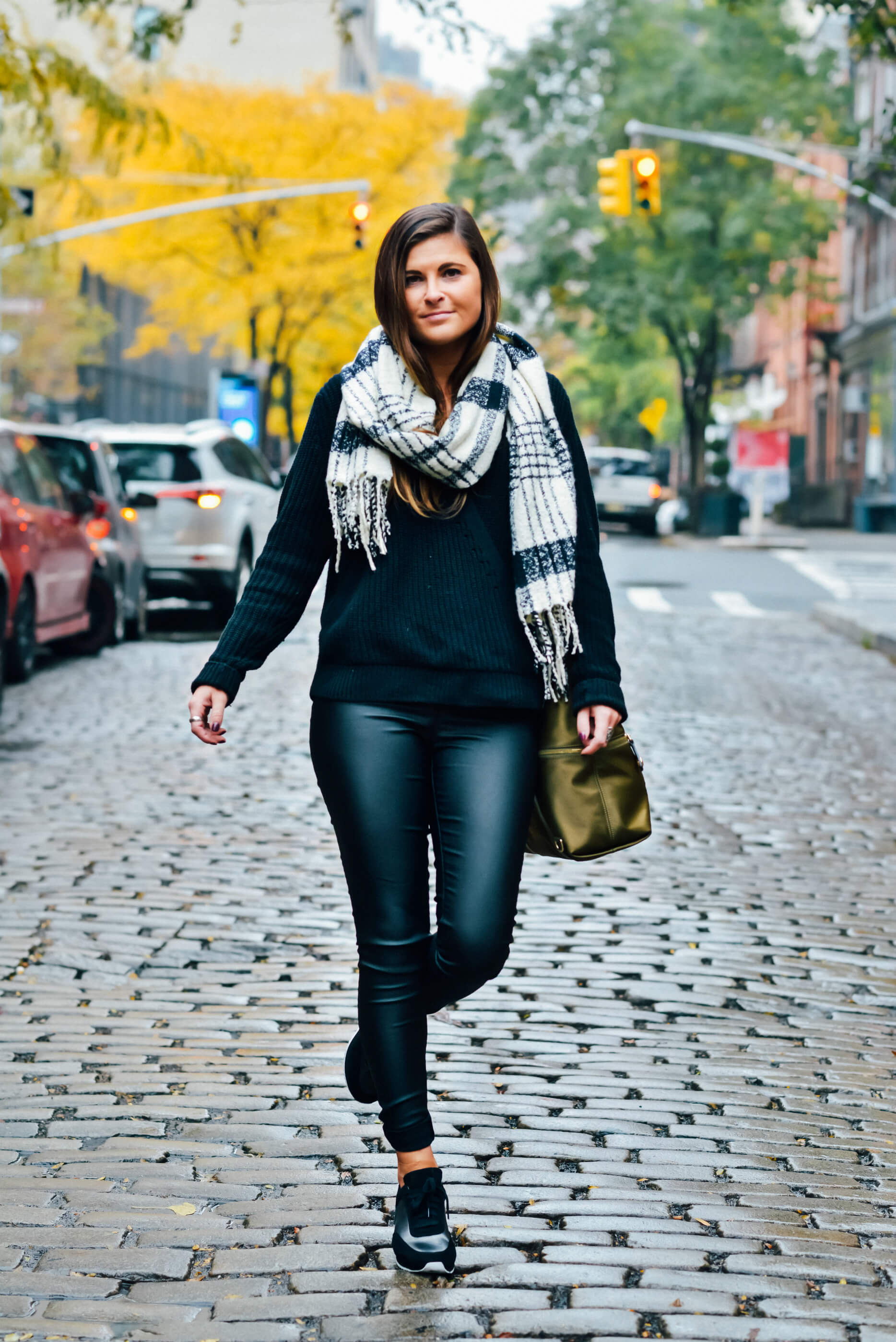I Love Tyler Madison Jacqueline Coated Pants, Black Monochromatic Outfit, Fall Style, Tilden of To Be Bright