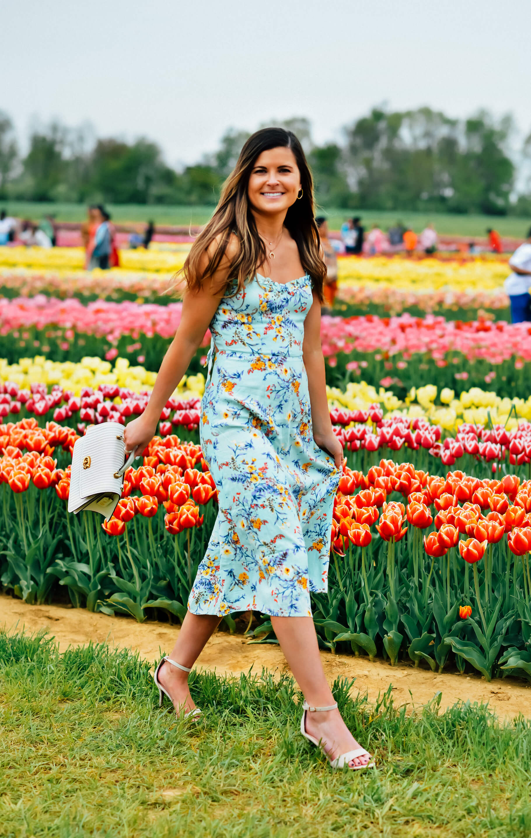 LULUS SUNNY MEADOW SAGE GREEN FLORAL PRINT TIE-BACK MIDI DRESS, garden party dress, spring party dress, spring floral print dress, Coach Parker Top Handle White Quilted Bag, Holland Ridge Farm Tulip Festival, Tilden of To Be Bright