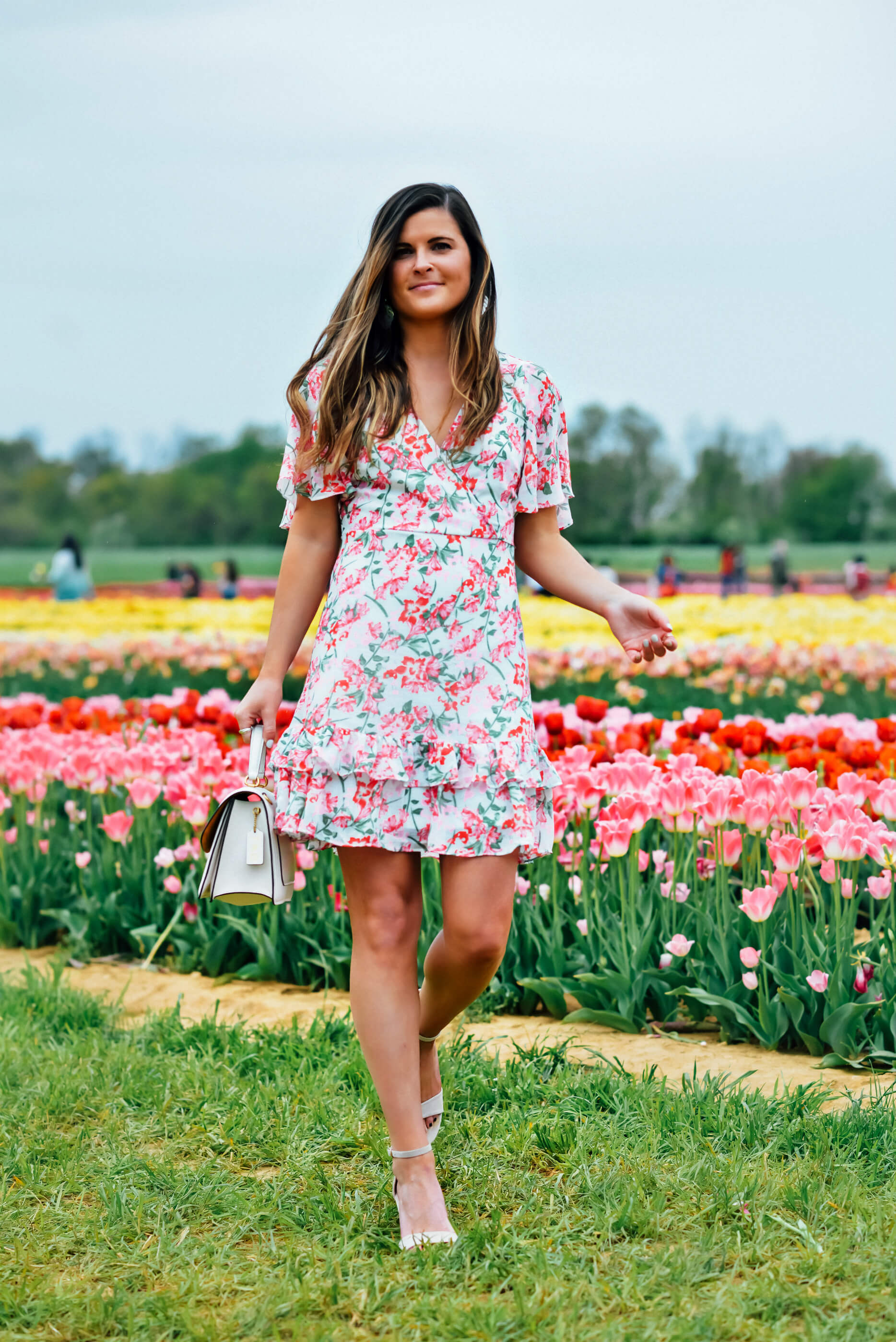 LULUS GLORIOUS WHITE AND LIGHT PINK FLORAL PRINT RUFFLED MINI DRESS, garden party dress, spring party dress, spring floral print dress,  Holland Ridge Farm Tulip Festival, Tilden of To Be Bright