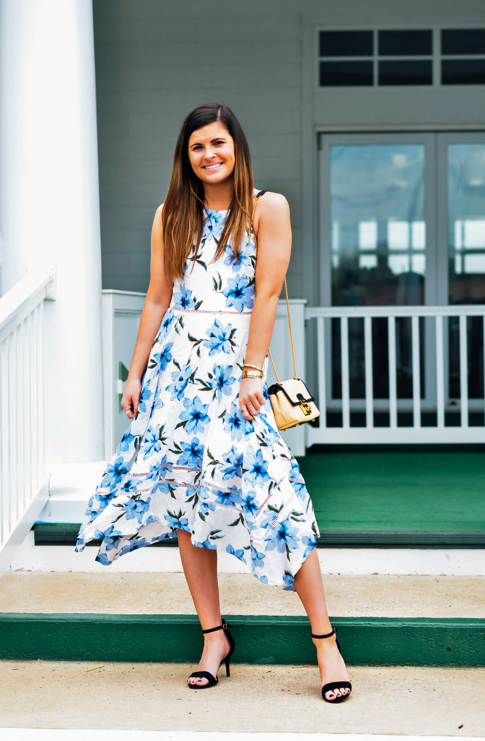LULUS ZAHARA BLUE AND WHITE FLORAL PRINT MIDI DRESS, Spring Luncheon Floral Dress, Spring Occasion Dress Outfit Idea, Tilden of To Be Bright