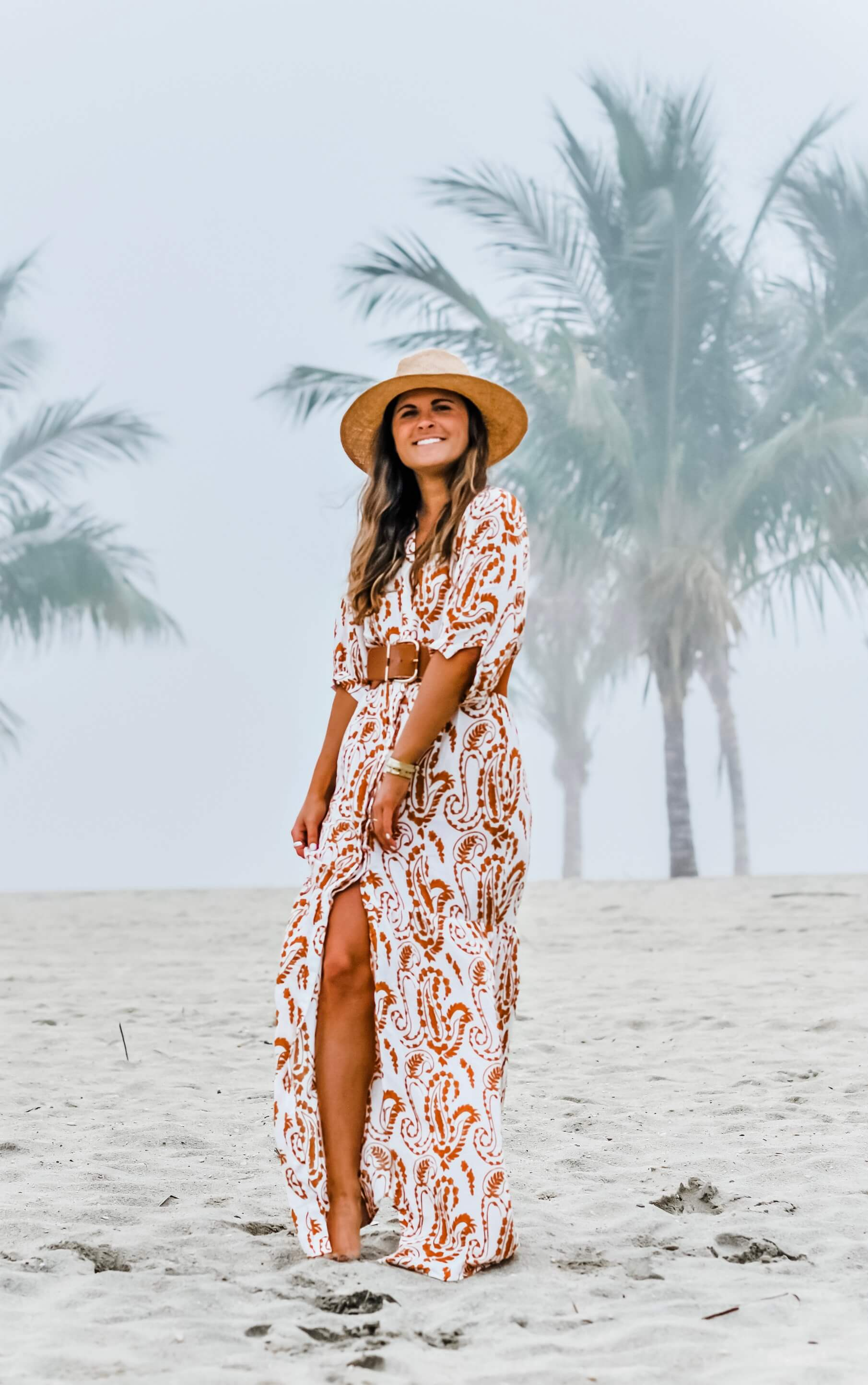 PrettyLittleThing White Paisley Print Button Front Split Maxi Dress, Tenth Street Hats Saltaire Straw Fedora, Summer Beach Outfit, Coverup Maxi Dress, Summer Beach Style, Tilden of To Be Bright