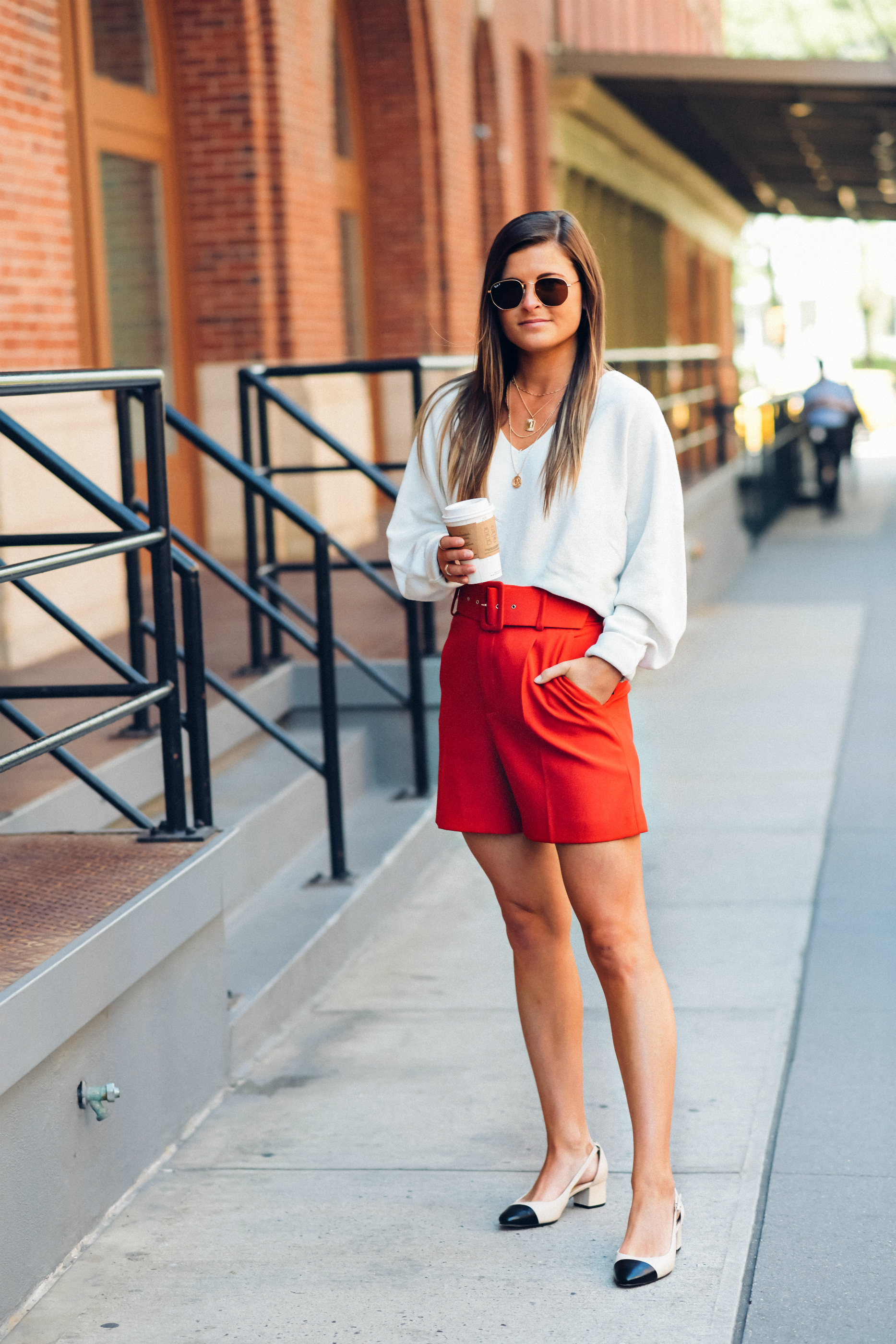 White V Neck Sweater, Red High Waisted Shorts, Sam Edelman Leah Cap Toe Pumps, Fall Street Style, Tilden of To Be Bright
