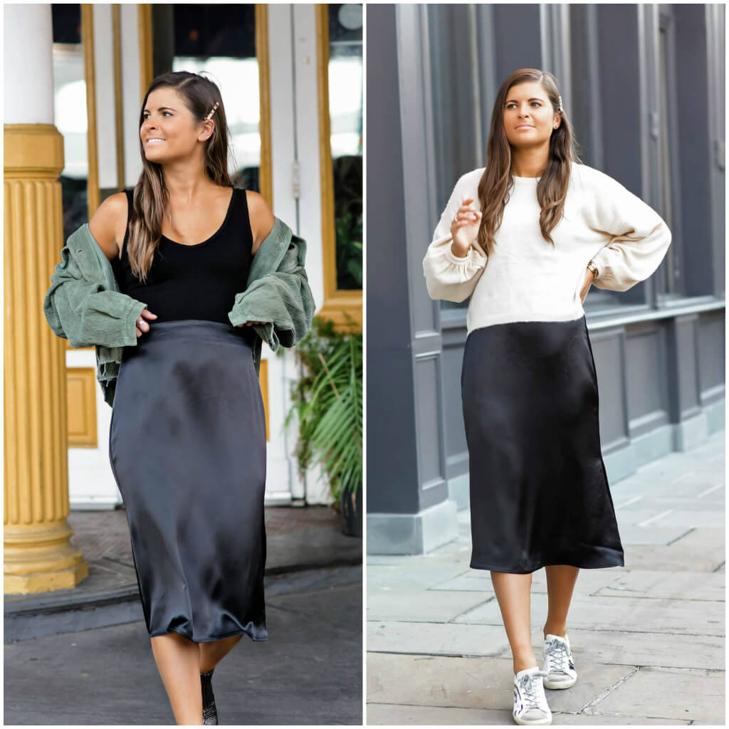 Two Ways To Style A Satin Midi Skirt, Fall Style, Tilden of To Be Bright