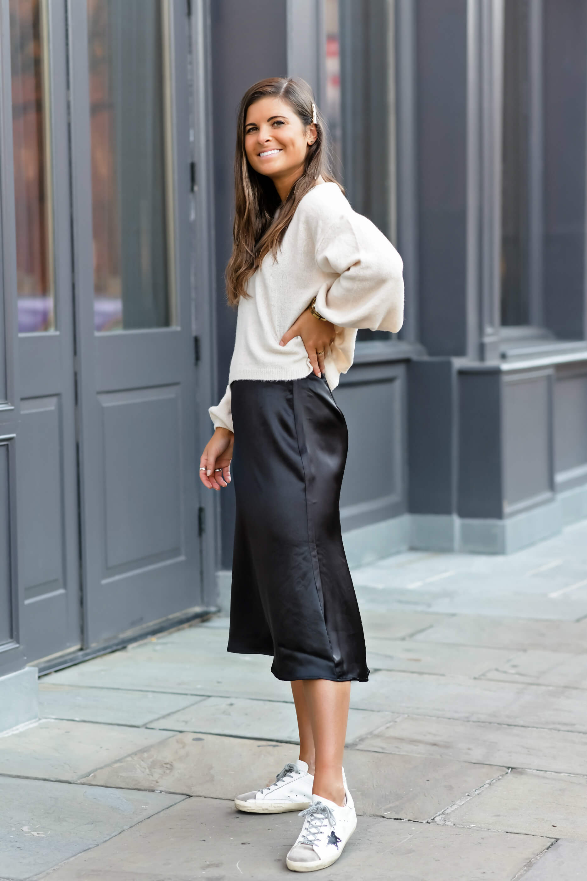 Two Ways To Style A Satin Midi Skirt, Skirt & Sweater Outfit With Golden Goose Superstar Sneakers, Fall Style, Lucki Clover Boutique, Tilden of To Be Bright