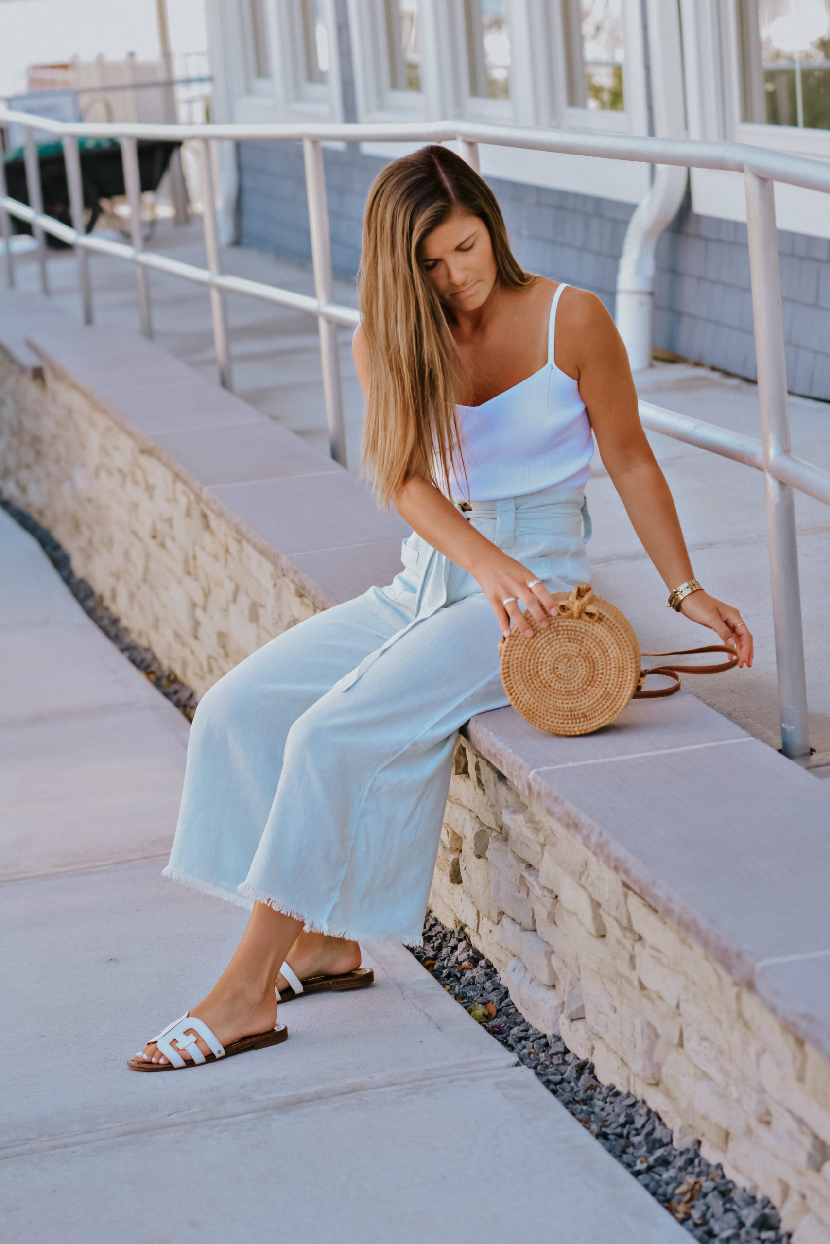 Adyson Parker Chambray Wide Leg Pant Outfit, Summer Wide Leg Crop Pants, Tilden of To Be Bright
