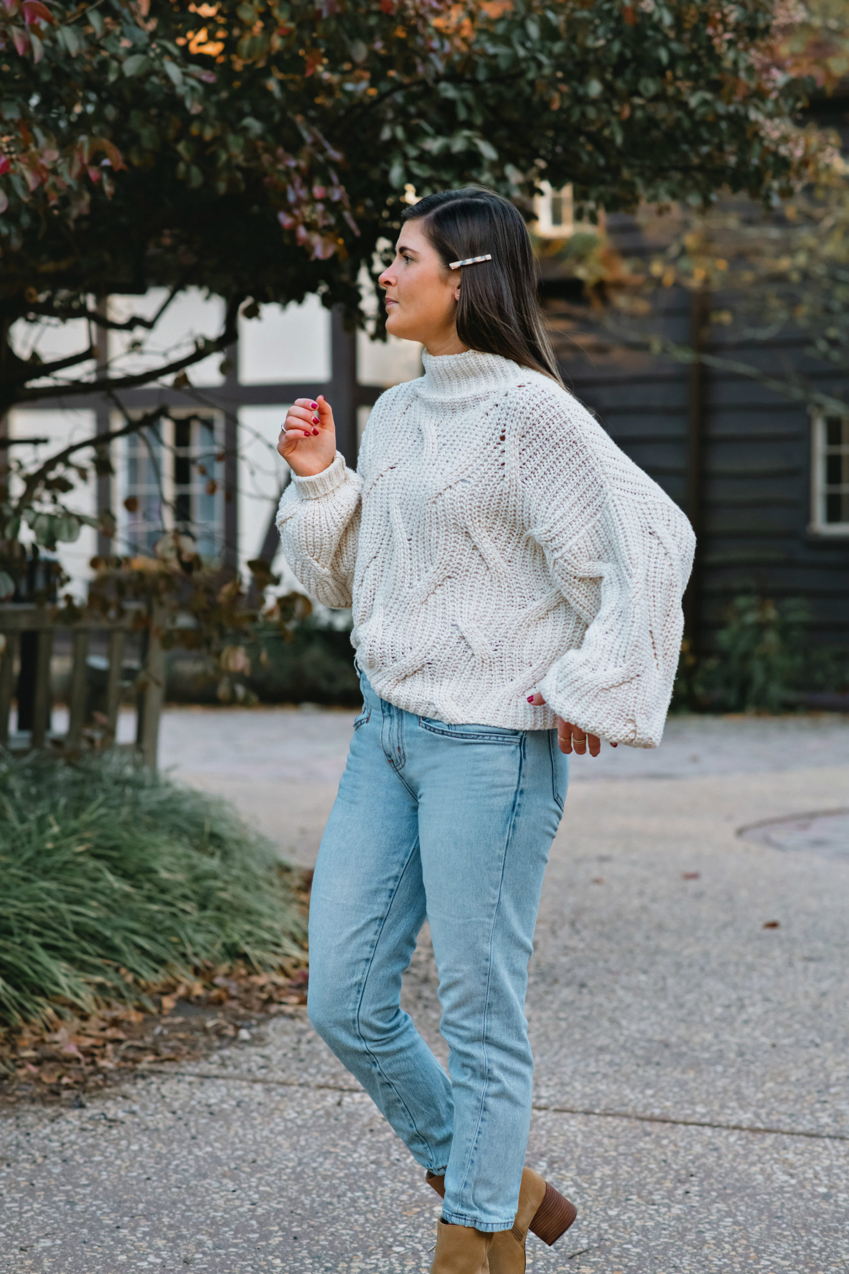 Free People Seasons Change Alabaster Sweater, Cozy Fall Knitwear, White Cable Knit Sweater Outfit, Tilden of To Be Bright